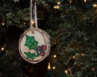 Holly on Birch Christmas Yule Tree Ornament