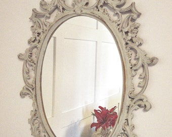 ornate painted mirror vintage mirror blue and gold wall mirror painted decor