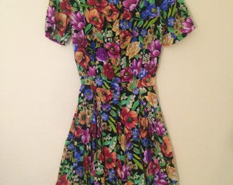 Flower Power 80's Vintage Dress