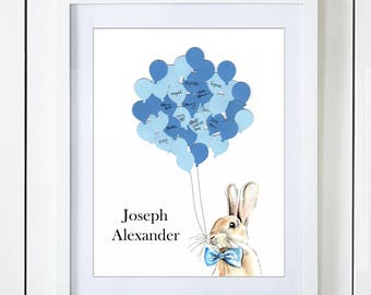 Blue Bunny Baby Shower Guest Book Alternative