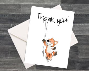 Set of Silly Fox Thank You Cards & Envelopes