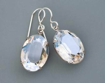Clear Crystal Earrings, Swarovski Crystal Jewelry, Clear Rhinestone Earrings, Silver Drops, Clear Earrings Dangle, Hypoallergenic, Gulzar