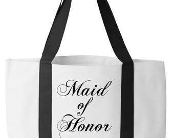 Maid of Honor Beach Tote. Custom Tote Bag. MOH beach bag.