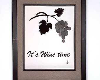 "It's Wine time Pebble Art     11"" x 14.5"""