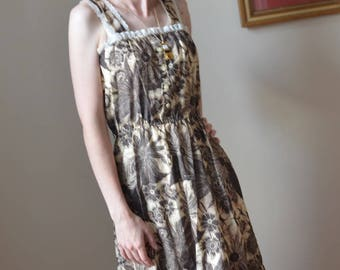 1970s Brown Floral Bohemian Prairie Style Sundress with White Lace Trim