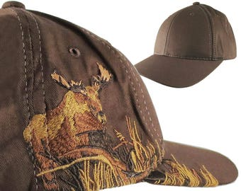 Custom Personalized Moose Large Embroidery on an Adjustable Full Fit Brown Baseball Cap Front Decor Selection with Options for Side and Back