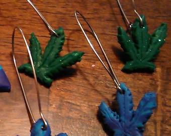 Gauge Dangle Earring - Cannabis Leaf