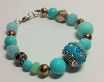 Blue And Silver Mixed Bead Bracelet