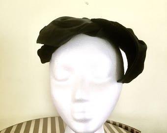 1940s Black Velvet and Satin Hat