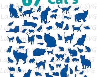 Cat SVG, Cat Silhouette SVG Cut Files, Cat Clipart, Cat Silhouette Cut Files svg dxf eps png - Silhouette Cricut