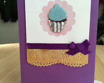 Cute Cupcake Purple & Gold Birthday Card