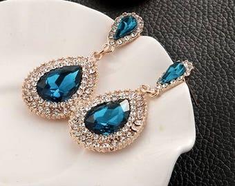 Something Blue Bridal Earrings- Sapphire Bridal Earrings- Rhinestone Bridal Earrings- Rhinestone- Bridal Jewelry- Bridesmaids Jewelry- Blue