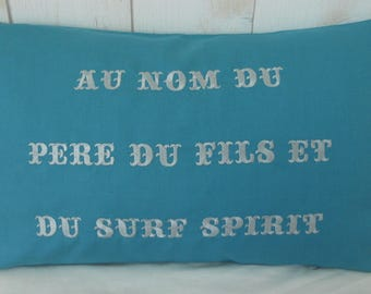 Surf spirit pillow embroidered with a positive message