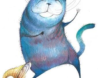 Groovy Dancing Cat Print | Animal Art Print | Cat Gift
