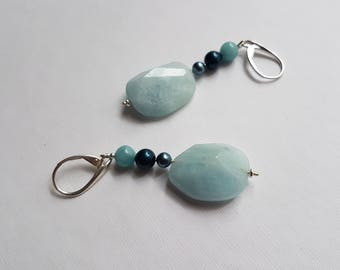 Rough Pastel Blue Aquamarine Oval with Pearls , Sterling Silver, Dangle Earrings, Leverback
