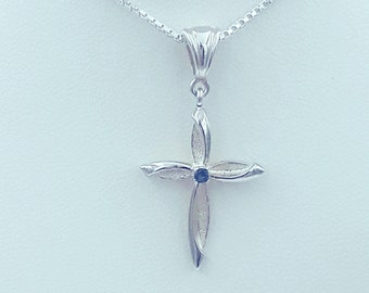 Sterling Silver Birthstone Cross Pendant
