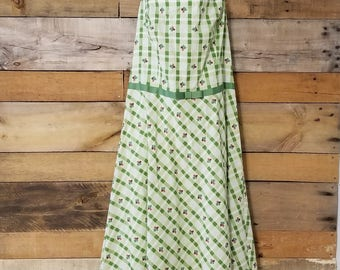 Vintage green and white plaid with roses 100% cotton halter dress