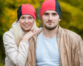 Red/black unisex beanie hats Set of 2 hats Matching couple beanie hats Adult scull hat Men slouchy beanie Women slouchy jersey beanie hat