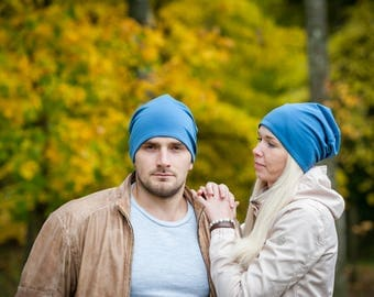 Blue unisex beanie hats Set of 2 hats Matching couple beanie hats Adult scull hat Men's slouchy beanie hat Women's slouchy jersey beanie