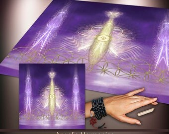 Crystal Grid Cloth - Angelic Harmonics in 11th Chakra - Crystal Meditation Energy Grid