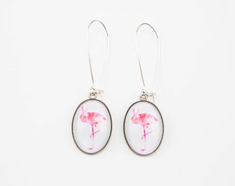 Background pink Flamingo earrings white #1366