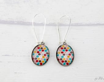 Earrings graphic patterns Hexagon honeycomb 1123