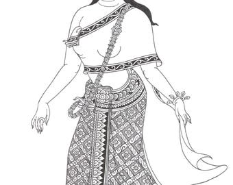 Thai woman drawing, Thai illustration, Original Drawing for gift&decor, woman illustration, traditional dress
