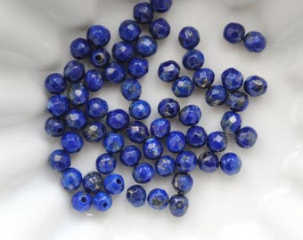 20 round faceted beads 3mm lapis lazuli - blue and bronze gemstones gold - natural stones