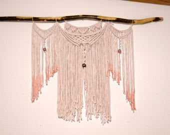 Medium Macrame Wall Hanging with Wood Beads
