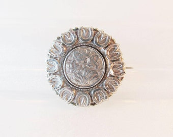 Antique Victorian Sterling Silver Mourning Memorial Brooch With Horseshoes - 1884