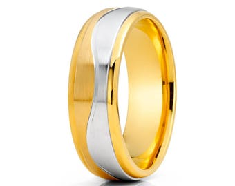 Wave Design Gold Wedding Ring 14k Yellow Gold Wedding Ring Anniversary Ring Engagement Band Men & Women Wedding Ring