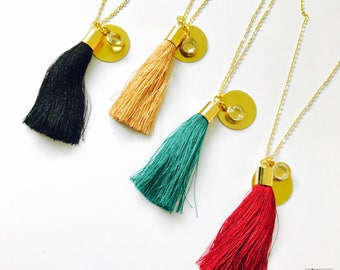 BOHO-long brass chain with long cup, small brass pendant and a glass stone gold plated