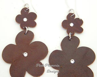 Leather Plumeria Earrings