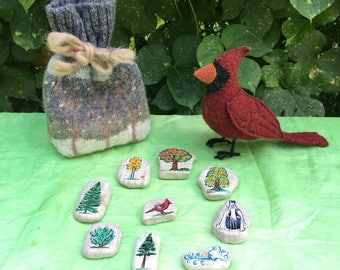 Storytelling set with story stones - Little Bird and the Evergreens