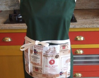 Béarn apron with straps to your measurements, customized wine labels, it is made in France sommelier tabb