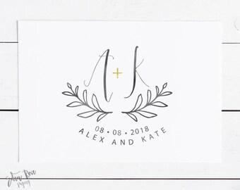 Wedding Logo Wedding Monogram Wedding Initials Wedding Design Premade Logo Watercolor Wedding Logo Save the Date Wedding Logo Design