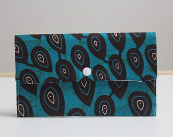 Wallet African fabric, ankara purse, make up storage bag, pencil case, pantyliner / tampon storage bag