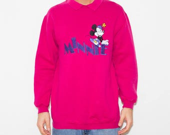 Disney, Minnie Mouse, Pink, Kawaii, 90s Vintage, 90s Clothing, Sweatshirt, Winter, 90s, Sportswear, Athletic, Retro, Cute, Pullover, Preppy