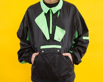 90s, Neon, Windbreaker, 90s Clothing, Vaporwave, Spring Jacket, Jacket, Black, Green, Block Color, Wind Jacket, Sports Jacket, Sports, Rave