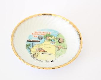 Free Delivery! WESTMINSTER Australian North West & Kimberleys WA Souvenir Gilded Tourism Dish Australiana Westraliana