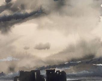 Stonehenge,monochrome,pen and ink,mixed media,art