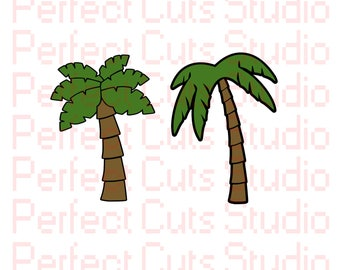 2 for 1 Palm Tree SVG & Studio 3 Cut File for Cricut Brother Silhouette Files Logo SVGs Cutouts Downloads Tropical Cutout