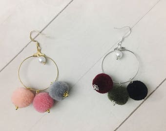 Pompom Hoop Earrings, ball earrings, pom pom earrings, pom earrings, hoop earrings, drop earrings, winter jewelry, Christmas Gift