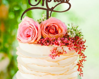 Mr and Mrs Surname Personalised Wedding Cake Topper Engagement Mr & Mrs gold monogram cake topper Rustic Cake Topper Silver Decor Wedding