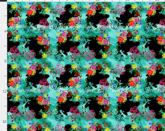 Mickey and Minnie floral silhouettes seamless digital image - fabric - scrapbook paper - gift wrap - 300 DPI - High Resolution