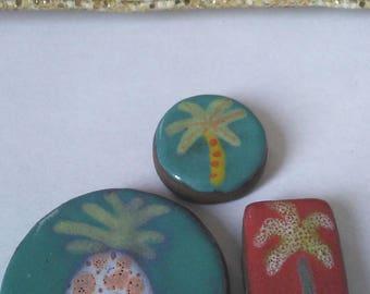 Tesserae or pineapple Palm ceramic cabochons
