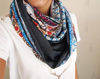 Snood collar double mid-season, ethnic, floral, graphics, patterns raw Denim Blue