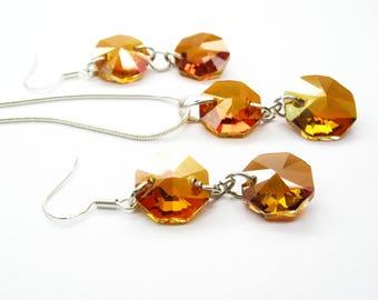 Swarovsky cooper Swarovsky Set Wedding Jewelry set swarovski Crystal Necklace Crystal Earrings swarovsky jewelry set birthday gift for her