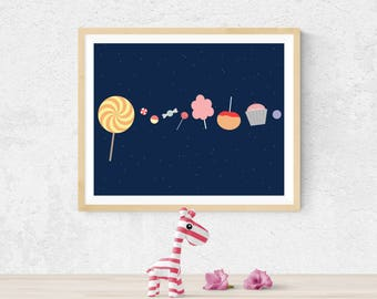 Outer Space Nursery, Outer Space Decor, Candy Solar System, Nursery Art, Boy Nursery, Nursery Decor, Boy Nursery, Outer Space Wall Art