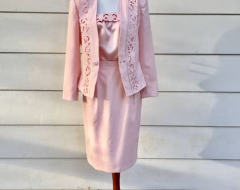 Vintage 80s Baby Pink 3-Piece Skirt Suit by Kasper